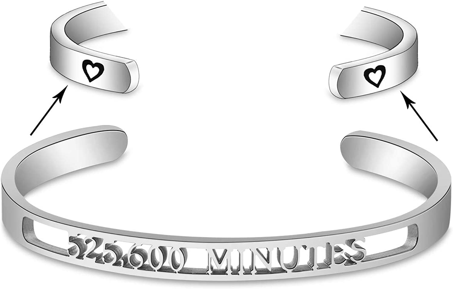 SEIRAA Rent Season Of Love 525,600 Minutes Cuff Bangle Inspired Bracelet Broadway Musical Jewelry Gift for Her