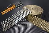 Schlauchland 10m Titan Hitzeschutzband 25mm 1400°C + 10 Kabelbinder Auspuffband Thermoband Krümmerband Heat Wrap Basaltfaser Isolierband Hitzeschutz