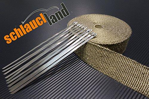 10m Titan Hitzeschutzband 50mm 1400°C + 10 Kabelbinder SCHLAUCHLAND*** Auspuffband Thermoband Krümmerband Heat Wrap Basaltfaser Isolierband Hitzeschutz
