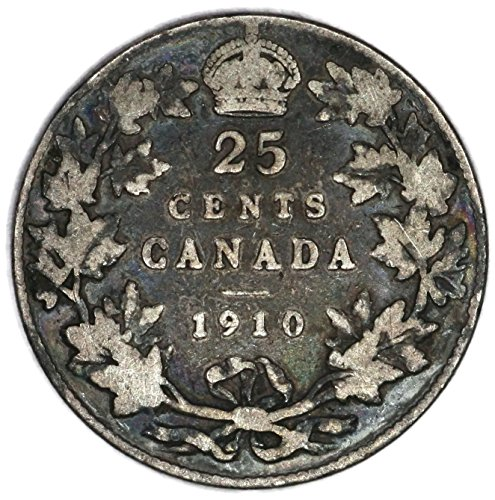 1910 CA Edward VII Canadian KM# 11a Silver 25 Cent Very Good