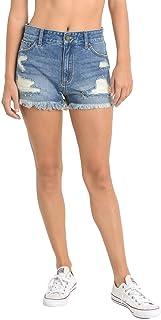 JBD Jeans High Rise Frayed Hem Shorts Medium Wash