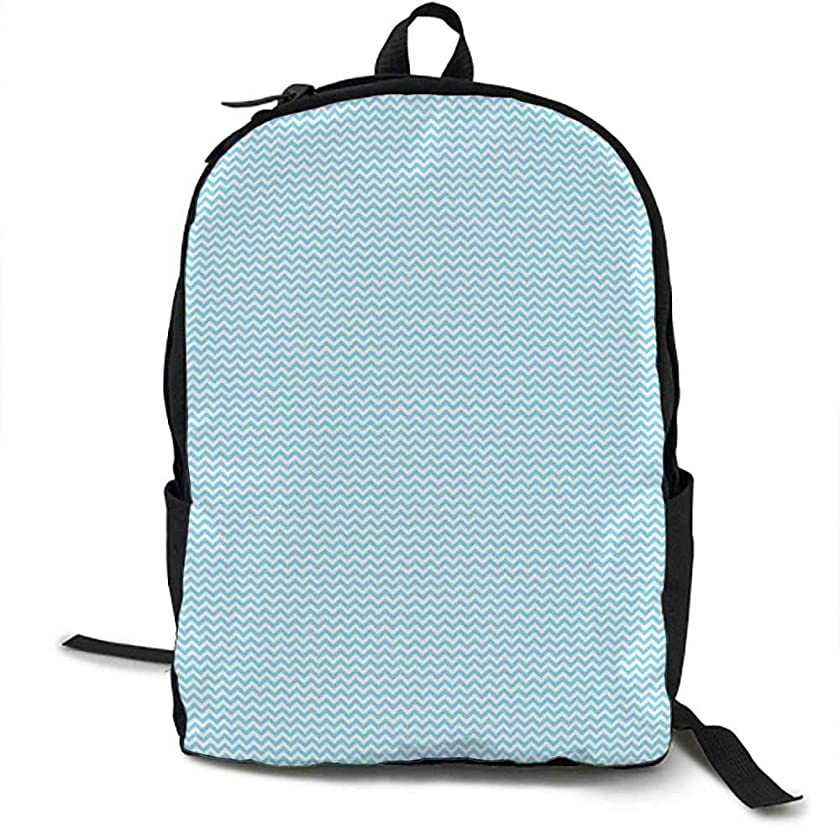Blue and White Unisex classic backpack Horizontal Zigzag Chevron Pattern Retro Style Striped Tile Design Suitable for 16-inch laptops 16.5 x 12.5 x 5.5 Inch Sky Blue and White