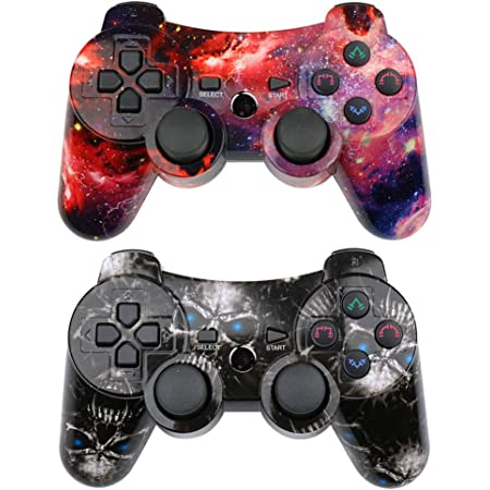 Wireless Controller 2 Pack Compatible with Playstation 3 with High Performance Motion Sense Double Vibration and Charging Cable (Skull + Galaxy)