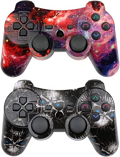 CHENGDAO PS3 Controller 2 Pack Wireless Dual Shock Upgraded Gamepad for Sony Playstation 3 with Charging Cord (Skull ...