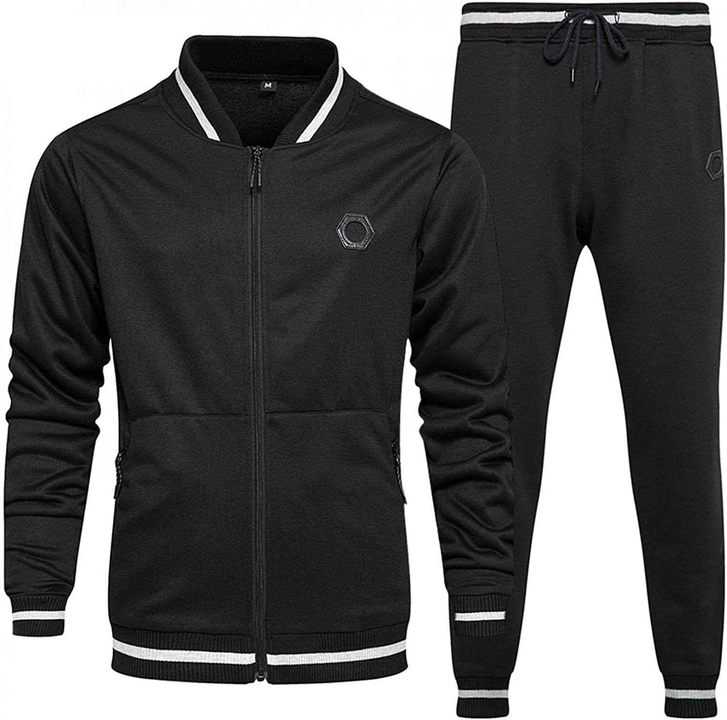 JSPOYOU Mens Tracksuit 2 Pieces Long Sleeve Stand collar Baseball Jacket Coat and Jogger Pants Set Casual Runnig Sport Suit