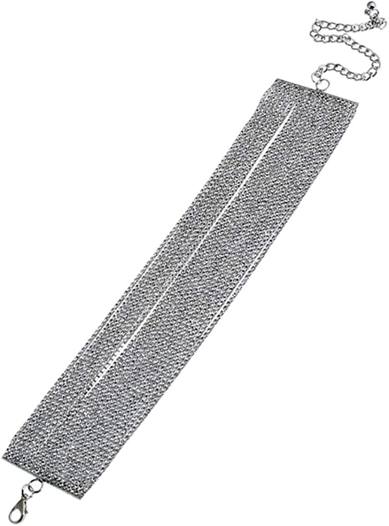Bonarty Thick Rhinestones Choker Necklace Wide Collar Chain Nightclub Party Jewelry