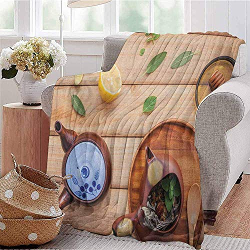 ERshuo Tea Party Comfortable Large Blanket Herbal Tea Pot With Fresh Herbs Sage Peppermint And Lime On Rustic Wood Planks Microfiber Blanket Bed Sofa Or Travel Multicolor 48x60IN