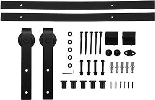Ainfox 6.6FT Barn Door Hardware, Sliding Barn Wood Door Hardware Kit Track Set Dark Steel Antique Style
