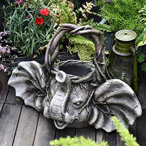 LXDDP Maceta de Flores de Animales realistas decoración de Efecto de ratán de Elefante Maceta de Flores suculentas Grande Retro jardinería Planta de eneldo Verde