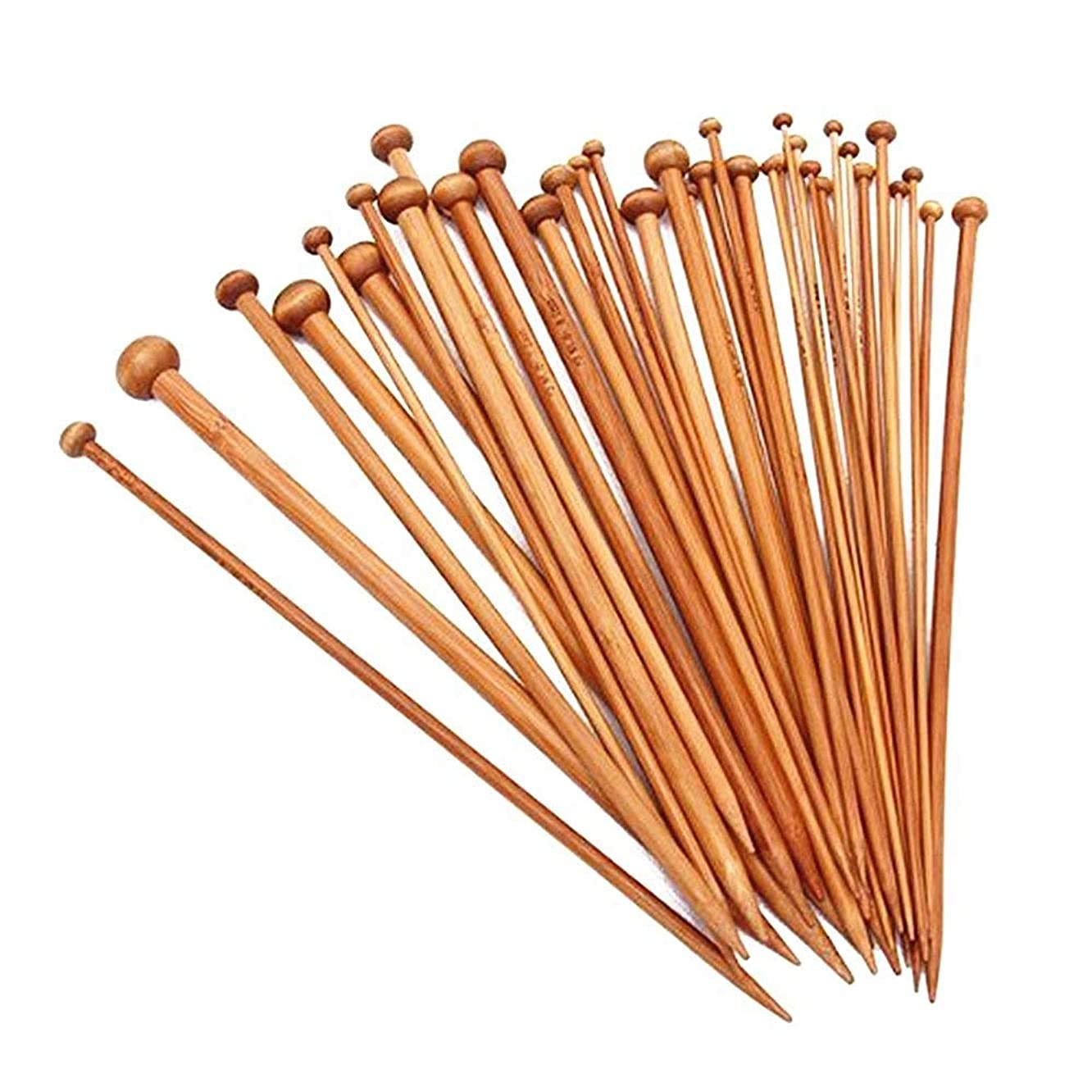 Carbonized Bamboo Knitting Needle Set Single Pointed Sweater Straight Needle Kit in Different Sizes(18pirs,36pcs,9.8 inches Length)