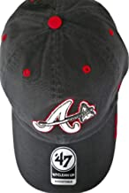 Atlanta Braves Unisex Adult Adjustable Low Profile Charcoal Gray Cap Hat with White and Black Embroidered A/Tomahawk Logo ...