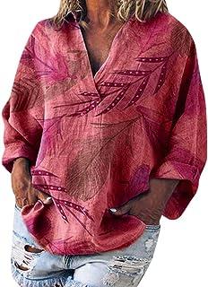 Remanlly Women Loose V Neck Leaves Print Basic Long Sleeve Tee Shirt Top Blouse