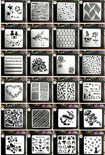 Juuly, plantilla de 24 estilos, plantillas para manualidades, plantillas para pintar, plantillas para tarjetas y manualidades
