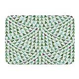 MATEKULI Alfombra De Baño Cocina Mascota,Resumen escamosos Verdes abetos Trazo de Pincel Azul Turquesa Estrellas Copos de Nieve Navidad Año Nuevo Vacaciones,Suave Antideslizante Alfombrilla de Ducha