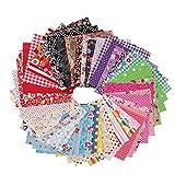 EXCEART Paquete de 50 Piezas de Tela Artesanal de Algodón Patchwork Tela Floral Tela de Algodón Tela de Retazos para Costura Diy Patrón Aleatorio (10X10cm)
