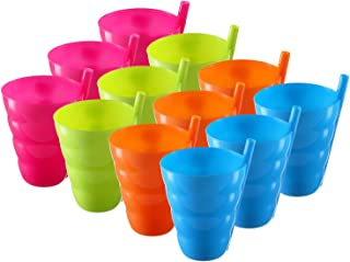 Pack of 12 Kids Cups – 10 Oz Straw Cups for Toddlers – Kids Straw Cup – Plastic Toddler Straw Cup – BPA Free Kids Cup - Fun Bright Color Cups for Toddlers – Kids Cup with Straw - 4 Assorted Colors