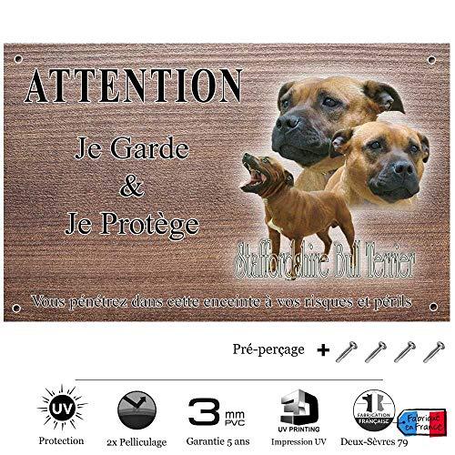 Pets-Easy.com Panneau Attention au Chien personnalisée Staffordshire-Bull-Terrier - pré percée et vis comprises. De 30 cm à 15 cm…