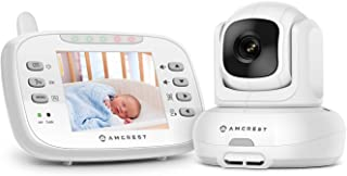 Amcrest Video Baby Monitor with Camera, Two-Way Audio, Motion Detection, Pan/Tilt/Zoom, Temperature Sensor, Night Vision, 3.5 inch LCD, 2.4 GHz Wi-Fi with FHSS (AC-2)