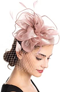 SAFERIN Fascinators Hat Sinamay Flower Mesh Feathers on a...