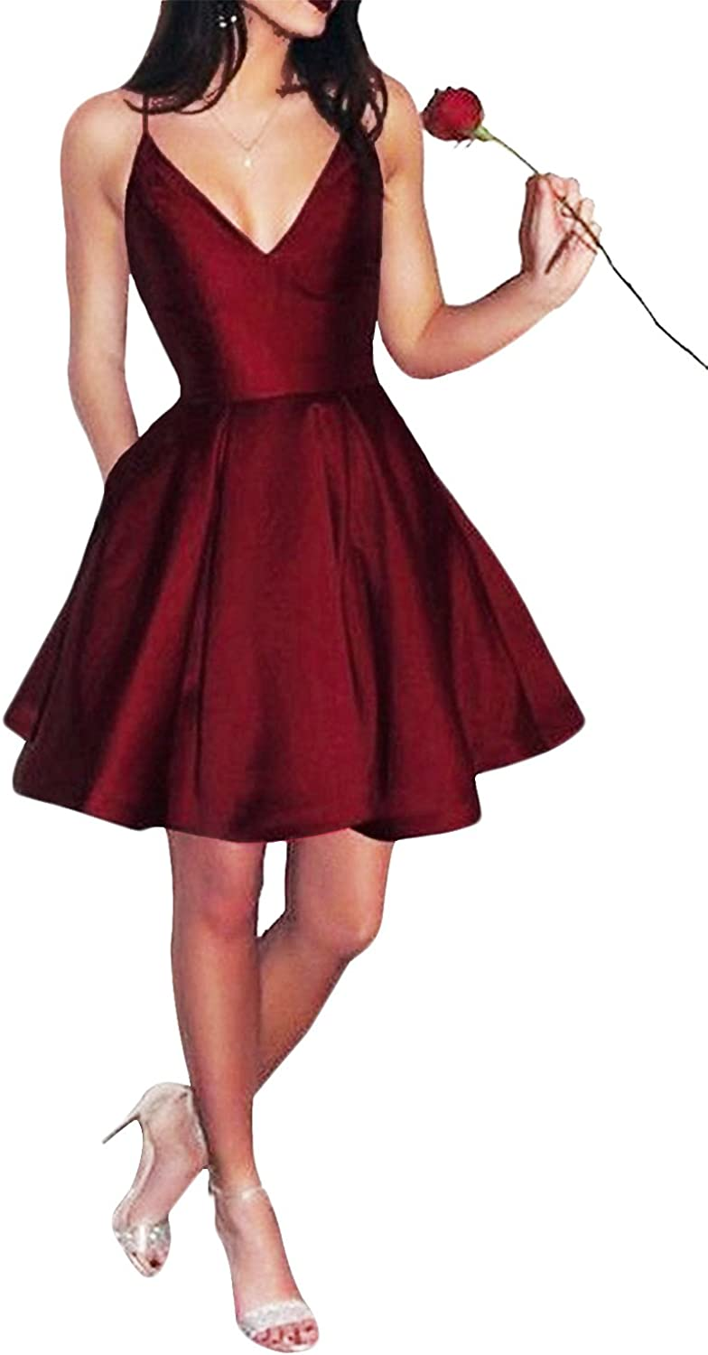 Yangprom Short Spaghetti Straps VNeck Aline Homecoming Dress with Pockets