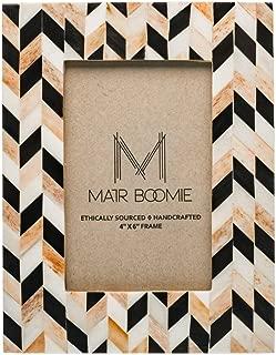 Matr Boomie Handmade Bone Tabletop Wall Picture Photo Frame from India (Black, Tan, White Chevron Mosaic, 4x6)