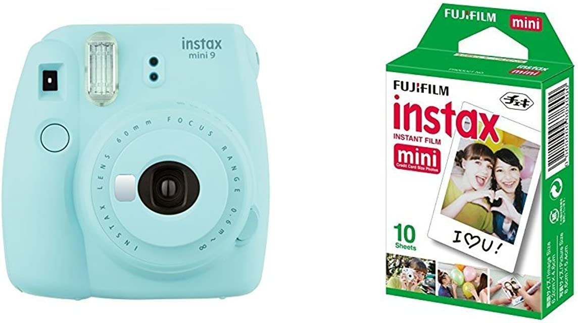 Fujifilm  Instax Mini 9  Azul + 1 paquetes de películas fotográficas instantáneas (10 hojas)