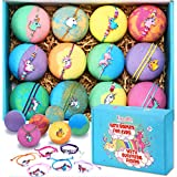 Bath Bombs for Kids with Toys inside for Girls Boys - 12 Set XXL Large Size Gift Kit, Surprise UNICORN, Handmade Bubble Bath Fizzies Spa Fizz Balls (Package May Vary)