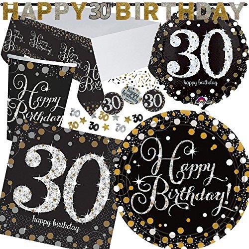 Amscan XXL-Party Set * Sparkling Celebration * pour l'anniversaire des 30 ans//avec assiettes + gobelets + serviettes + Nappe + Confettis Bannière + Ballon +//Set de fête dreißig