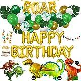 Kit de 71pièces de décoration pour anniversaire d'enfant, XXL, ballons gonflables, guirlande, décorations à gâteaux, pour un anniversaire au thème de dinosaure, vert, or, blanc