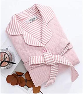 CHAHANG Quilted Clip Silk Cloth Nightgown Female Autumn And Winter Long Section Thick Cotton Pajamas Cotton Home Service Bathrobes Bean Red L (165/90) (Color : Bean Red, Size : M)