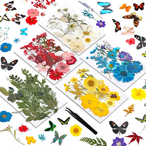 122 Stück getrocknete gepresste Blumen und Schmetterlinge, transparente Aufkleber, natürlich getrocknete Blätter für Harzbedarf, DIY Kerzen, Schmuckherstellung, Dekor