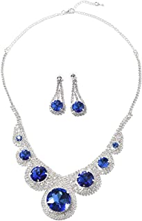 Dangle Drop Earrings Necklace Set Blue Glass Crystal Silvertone Costume Jewelry Size 23
