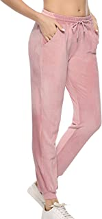 Womens Joggers Yoga Pants Active Solid Velour Sweatpants for Women with Pockets