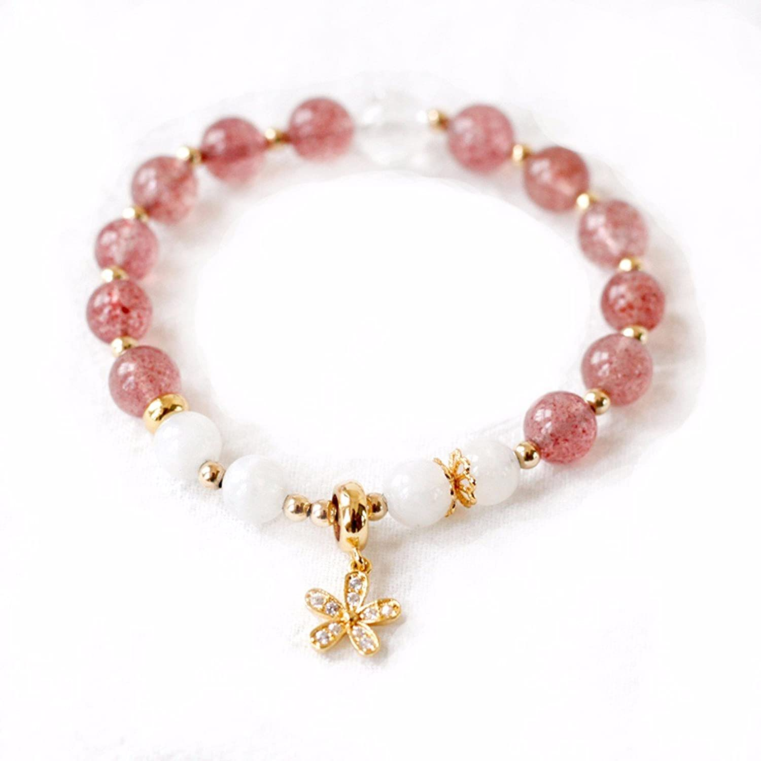 GTVERNH Gift Peach Blossom Prosperous Marriage Strawberry Crystal Bracelet Simple Personality Send Girlfriend