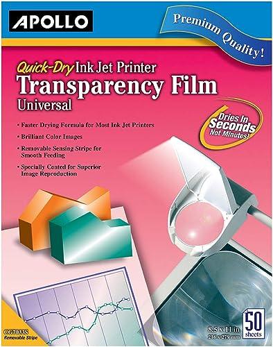 Apollo Quick Dry Universal Ink Jet Printer Film, 8.5 x 11 Inch Sheets, 50 Sheets per Box (VCG7033S)