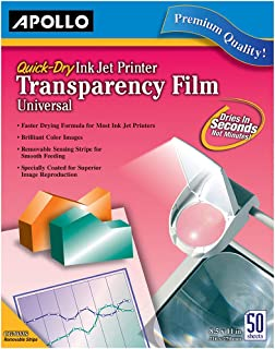 Apollo Transparency Film for Inkjet Printers, Universal, Quick Dry, 50 Sheets/Pack (VCG7033S), Clear