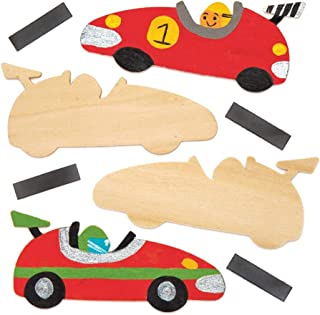 Baker Ross AW575 Racing Car Wooden Fridge Magnets - Pack of 10, Make Your Own Magnets, Ideal for Kids Arts and Crafts Project