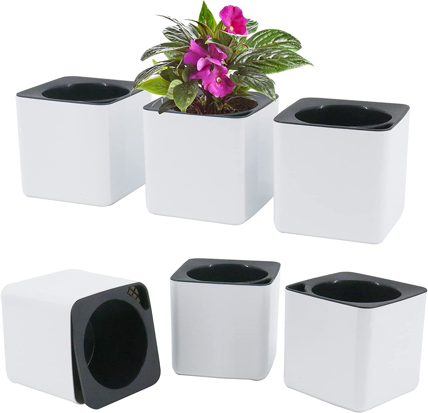 Finderomend 6 Pack 4 inch Self Watering Herb Pots Foolproof Indoor Home Garden Self Watering Plastic Planter with Inner Pot for Potting Smaller House Plants Herbs African Violets (Set of 6,White)