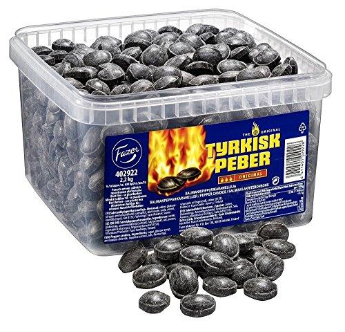 Fazer Tyrkisk Peber - Original - Finnish - Caramel - Boiled - Hard - Salmiak - Salmiac - Salty Licorice - Liquorice - Pepper - Candies - Sweets - Box 2,2 kg