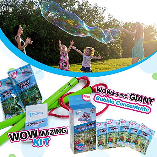 WOWMAZING Giant Bubble Wands Kit & Bubble Refills: Includes Wand, 7 Big Bubble Concentrate Pouches and Tips & Trick Booklet | Outdoor Toy for Kids, Boys, Girls | Bubbles Made in The USA