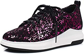 Women's Sparkly Lace up Fashion Sneakers Mesh Weight Sparkle Slip On Casual Platform Wedge Shoes