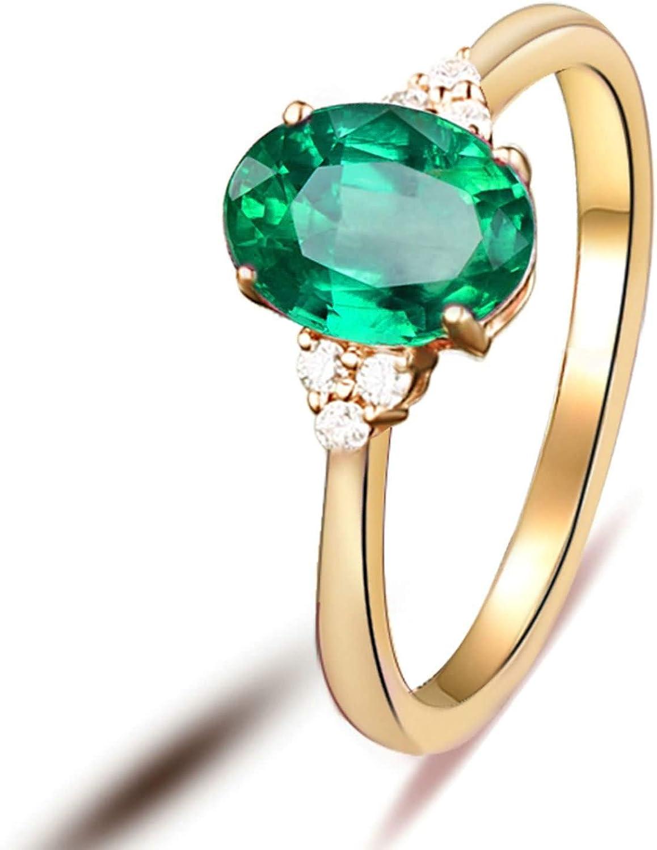 Beydodo Anillos de Compromiso Oro Amarillo 18k(750) Mujer Oval Esmeralda Verde 0.8ct 1.25ct