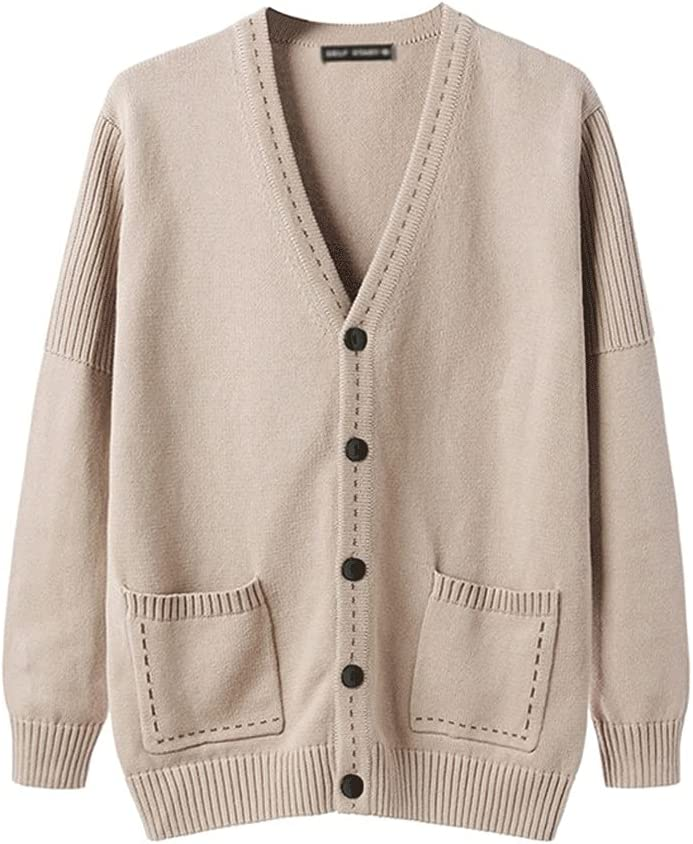 CFSNCM Autumn and Winter Men's Solid Color Cardigan Sweater Comfortable and Warm Men's (Color : Apricot, Size : XL code)