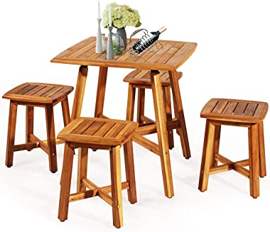 Tangkula 5 Piece Wood Patio Dining Set, Outdoor Dining Furniture w/Square Table & 4 Stools, Garden Conversation Dinging S