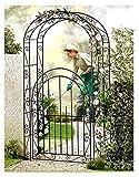 ABC Home Garden Pflanzenbogen Rosenbogen mit Tor | Rankhilfe, Schwarz, 43 x 115 x 215 cm