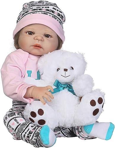 0Miaxudh 46cm wiedergeborenes Babypuppe, Weißhes lebensechtes Vinylsilikon, Kinder begleiten Spielzeug, Geschenk Rosa