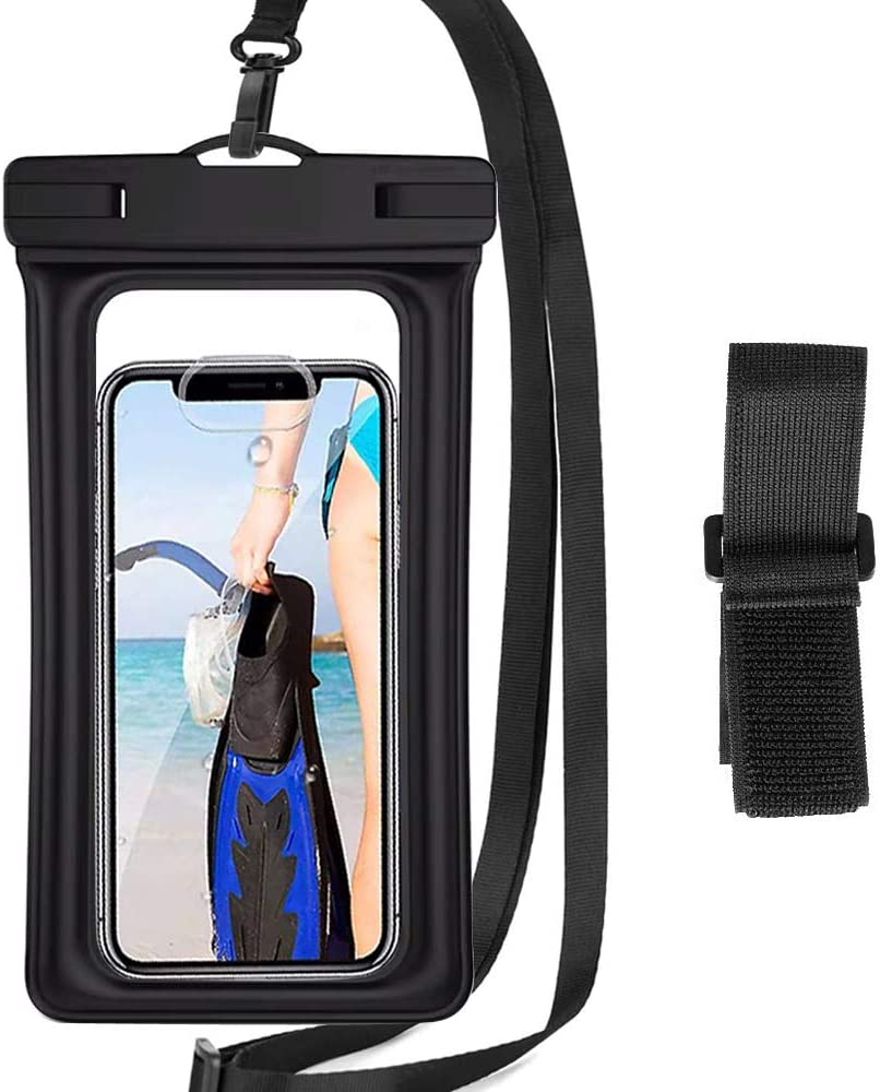 HUAG Floating Waterproof Phone Pouch, Universal Floatable Phone Case Dry Bag with Lanyard Armband Compatible with iPhone 12 11 Pro Max X XR Max, Samsung