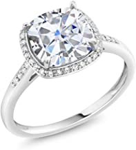 Charles & Colvard Forever One G-H-I 2.40 ct DEW (8mm) Cushion Created Moissanite Diamond Accent Halo Engagement Ring in 10K White Gold