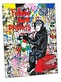 Banksy Chimpanzee Drawing Follow Your Dreams - Lienzo enmarcado para decoración de pared, Lienzo de tela., 12''x 8''inch( 30x 20 cm ) -18mm depth