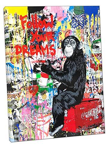 Banksy Schimpanse Zeichnung Follow Your Dreams Gemälde Druck auf gerahmter Leinwand Wanddekoration, Stoff-Leinwand, 30'' x 20'' inch ( 76x 50 cm ) -18mm depth